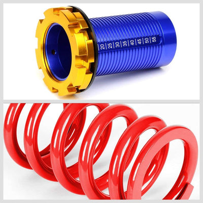 F/R Red Scaled Coilover Spring+Silver Gas Shock Absorbers TY22 For 94-01 Integra-Shocks & Springs-BuildFastCar