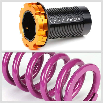 F/R Purple Scaled Coilover Spring+Black Gas Shock Absorbers TY33 For 88-91 Civic-Shocks & Springs-BuildFastCar