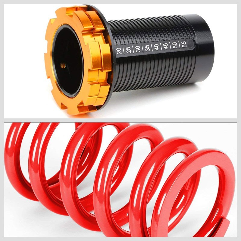"Black/Red Scaled 1""-4"" Adjust Lowering Coilover Spring TY33 For 90-01 Integra-Suspension-BuildFastCar"
