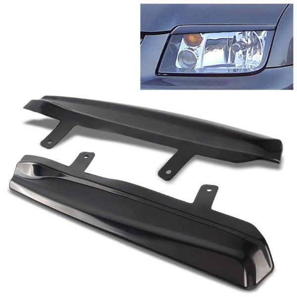 Pair Upper Mean Look Headlight Eyelid Eyebrow Cover For 99-05 Volkswagen Jetta-Exterior-BuildFastCar