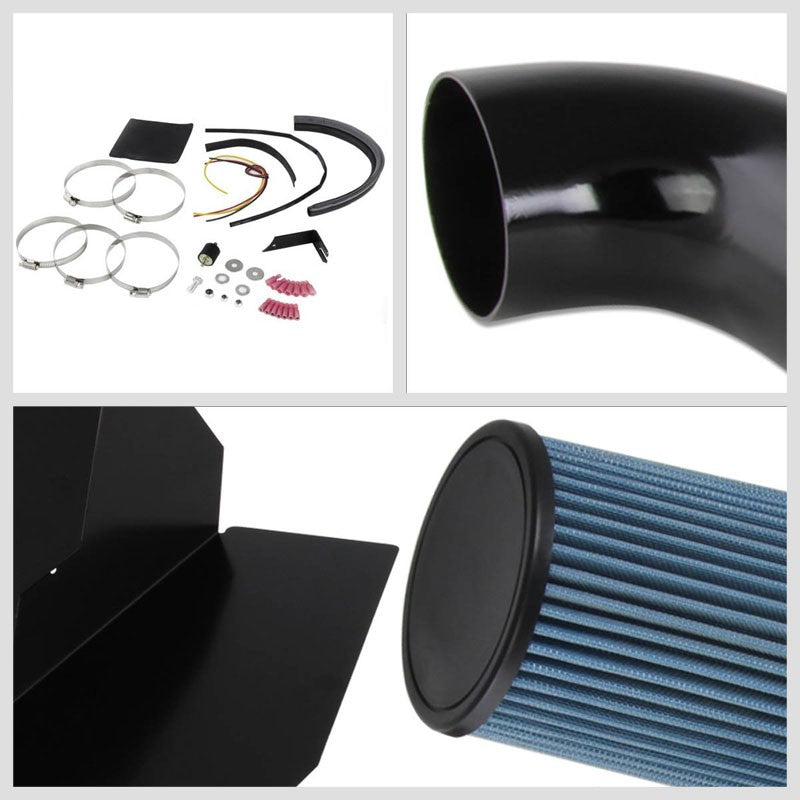 Black Cold Air Induction Intake+Heat Shield For 96-00 C/K Series/Tahoe/Yukon-Performance-BuildFastCar