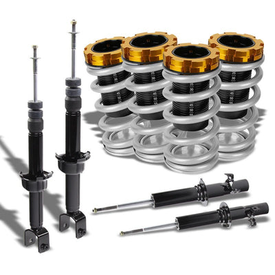 F/R Silver Scaled Coilover Spring+Black Gas Shock Absorbers TY33 For 88-91 Civic