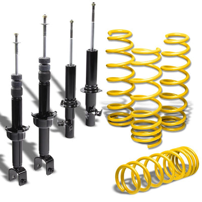 "DNA Black Shock Struts+Yellow 1.75"" Drop Lowering Spring For Honda 88-91 Civic"