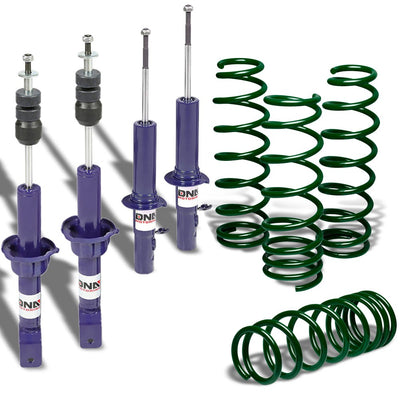 "DNA Blue Shock Absorbers+Green 1.75"" Drop Lowering Spring For Honda 88-91 Civic"