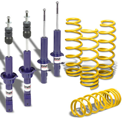 "DNA Blue Shock Absorbers+Yellow 1.75"" Drop Lowering Spring For Honda 88-91 Civic"