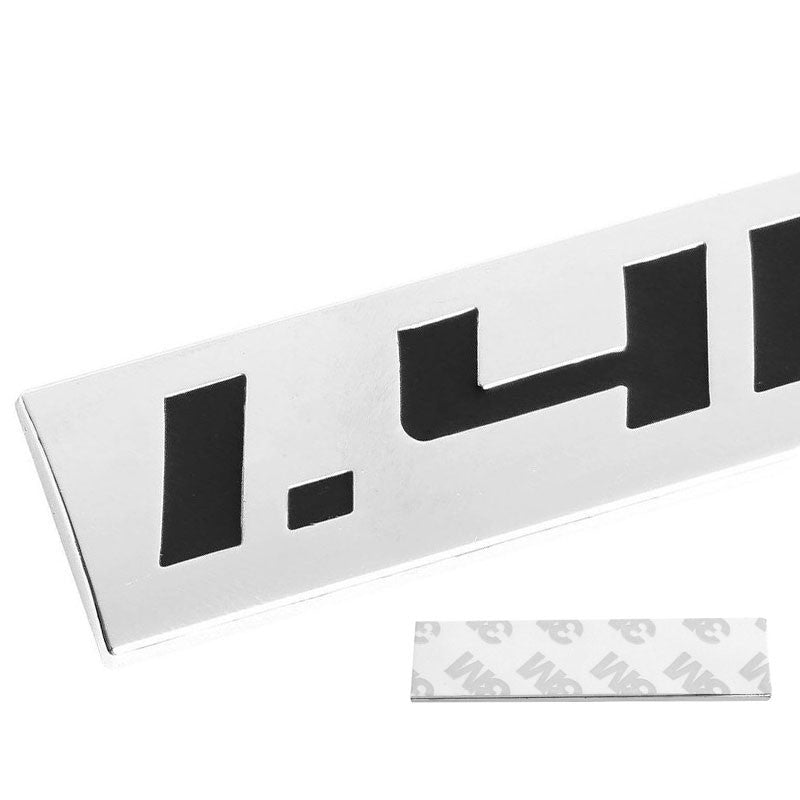 Black/Chrome 1.4L 4mm Rear Trunk Polished Badge Decal Emblem w/ 3M Sticker-Exterior-BuildFastCar