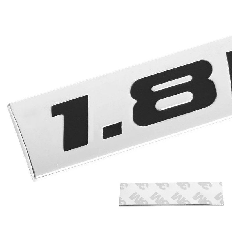 Black/Chrome 1.8L Letter Logo Rear Trunk Metal Badge Decal Emblem Plate-Exterior-BuildFastCar