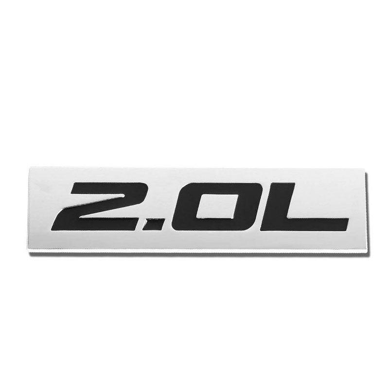 Black/Chrome 2.0L 4mm Sign Rear Trunk Polished Logo Badge Decal Plate Emblem-Exterior-BuildFastCar
