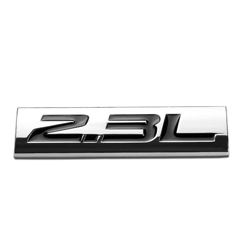 Black/Chrome 2.3L Letter 4mm Sign Rear Trunk Metal Badge Decal Plate Emblem-Exterior-BuildFastCar