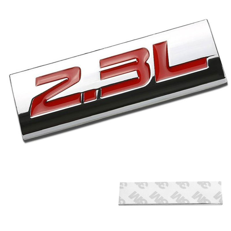 Red//Chrome 2.3L Sign Trim Rear Trunk Metal Badge Decal Logo Trim Emblem