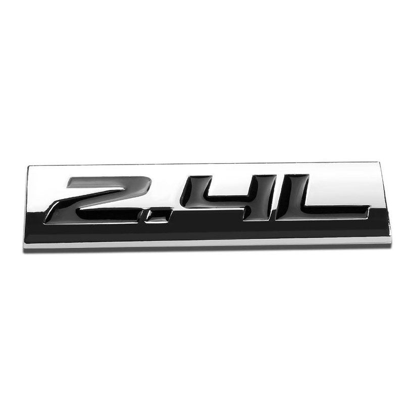 Black/Chrome 2.4L Symbol Sign Rear Trunk Polished Badge Decal 4mm Plate Emblem-Exterior-BuildFastCar
