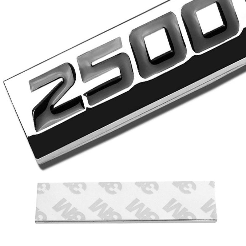 Black/Chrome 2500 Letter Sign Rear Trunk Polished Badge Decal Plate Emblem Tape-Exterior-BuildFastCar