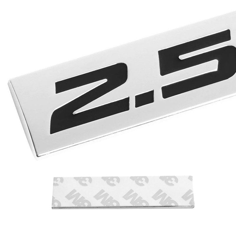 Black/Chrome 2.5L Letter Sign Rear Trunk Polished Badge Decal Plate Emblem 4mm-Exterior-BuildFastCar