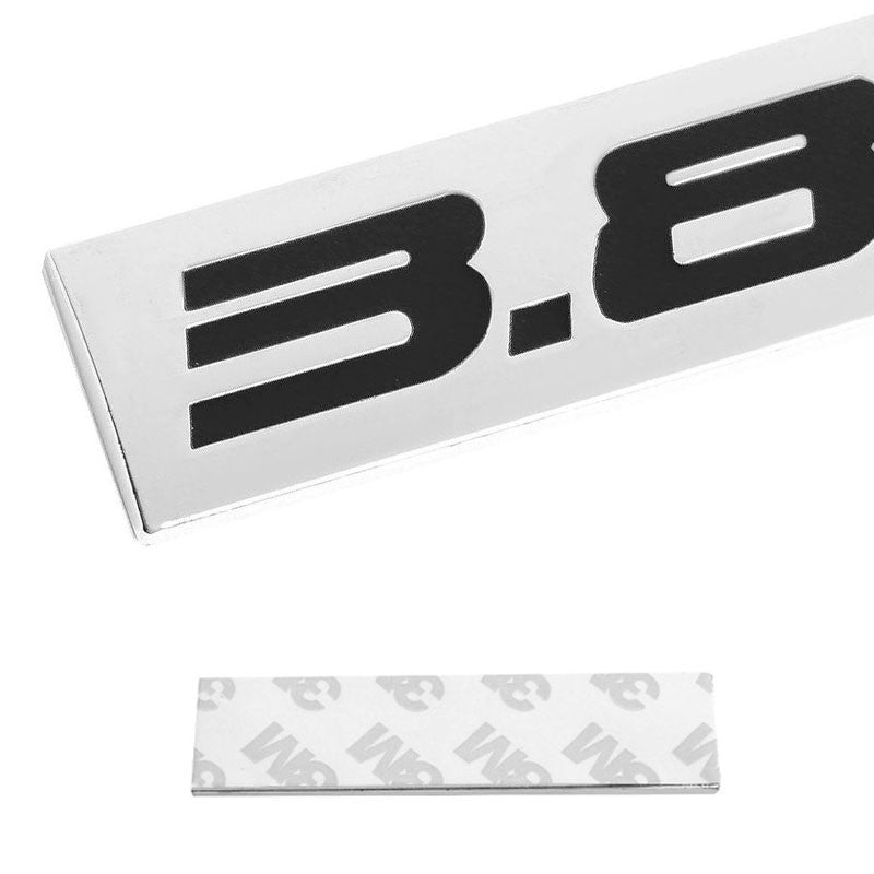 Black/Chrome 3.8L Letter Sign Logo Rear Trunk Side Badge Decal Plate Emblem 3M-Exterior-BuildFastCar
