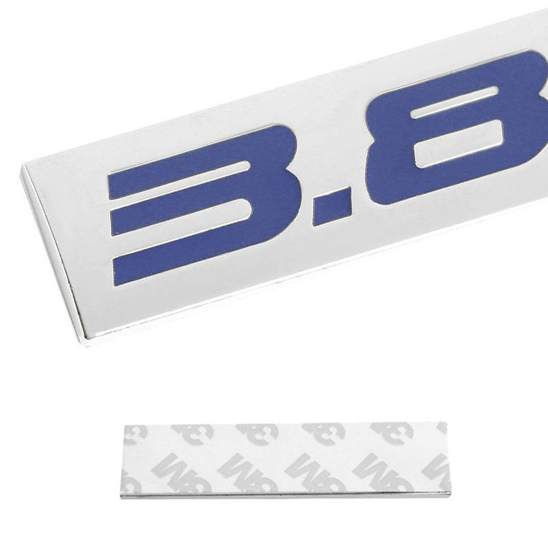 Blue/Chrome3.8L Sign Logo Plate Rear Trunk Metal Badge Decal Sticker Emblem Hood-Exterior-BuildFastCar