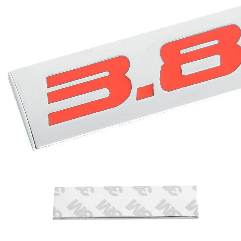 Red/Chrome 3.8L Logo Trim Rear Trunk Polished Badge Decal Emblem 3M Tape Sticker-Exterior-BuildFastCar