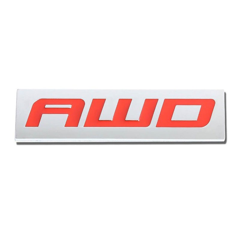Red/Chrome AWD Wheel Drive Sign Trim Rear Trunk Polished Badge Decal Emblem-Exterior-BuildFastCar