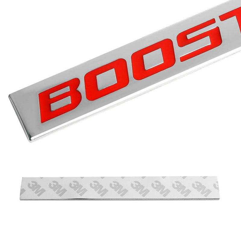 POLISHED RED LETTERS BOOSTED METAL EMBLEM DECAL LOGO TRIM BADGE 3M ADHESIVE