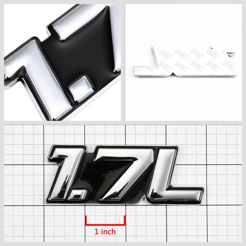 Black/Chrome 1.7L Symbol Engine Auto Trunk Badge Emblem Decal Adhesive Sticker-Exterior-BuildFastCar