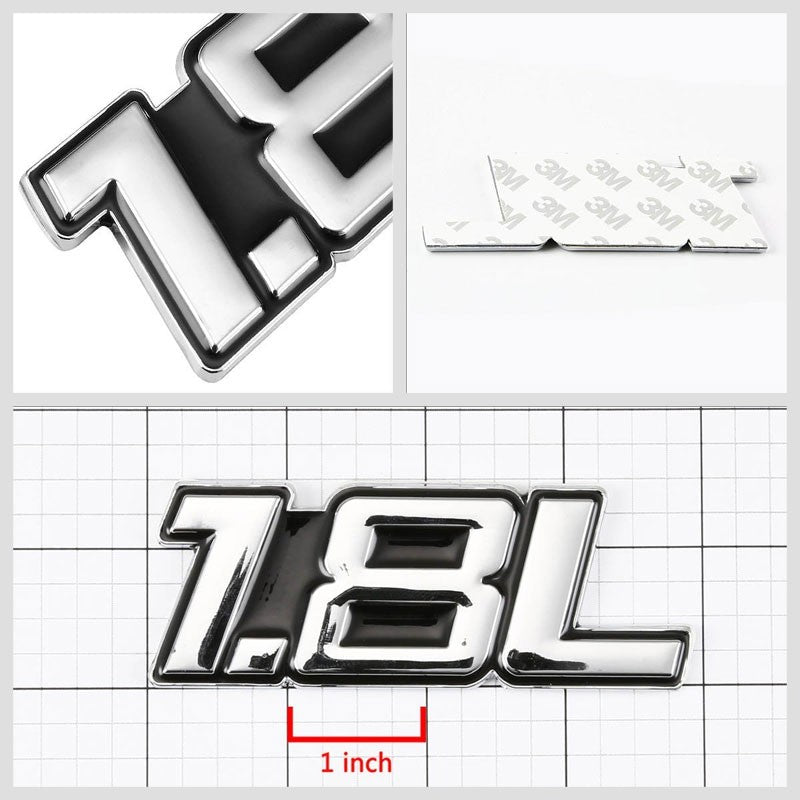 Black/Chrome 1.8L Name Badge Sport Engine Emblem Polished Decal Sticker-Exterior-BuildFastCar