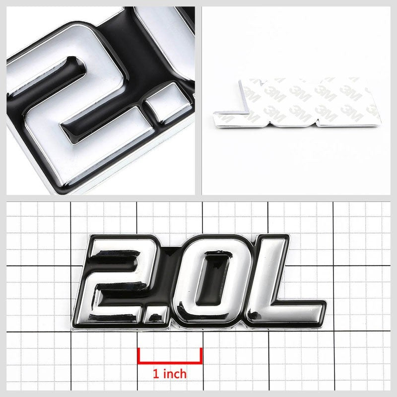 Black/Chrome 2.0L Logo Plate DOHC Engine Badge Emblem Metal Decal Adhesive 3M-Exterior-BuildFastCar
