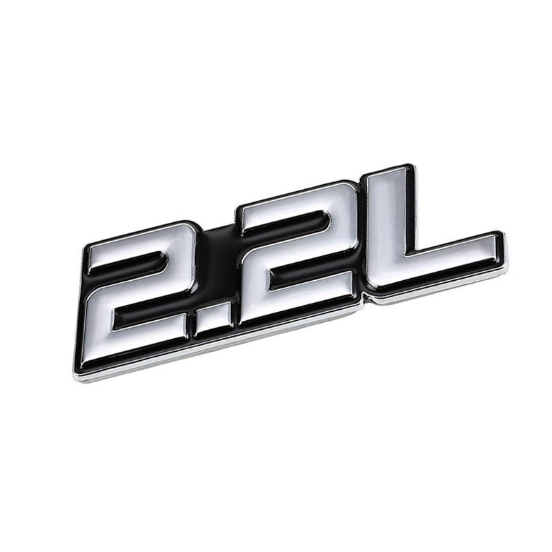 Black/Chrome 2.2L Sign Badge Diesel Trim Engine Emblem Metal Decal 3M Tape-Exterior-BuildFastCar
