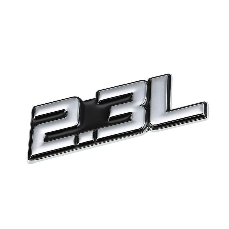Black/Chrome 2.3L Sign Turbo Sport Engine Emblem Metal Decal Plate Sticker Badge-Exterior-BuildFastCar