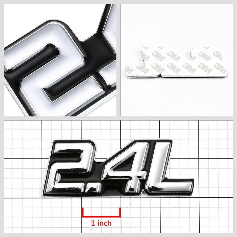 Black/Chrome 2.4L Symbol Car/Trunk Badge Emblem Polished Decal Adhesive Sticker-Exterior-BuildFastCar