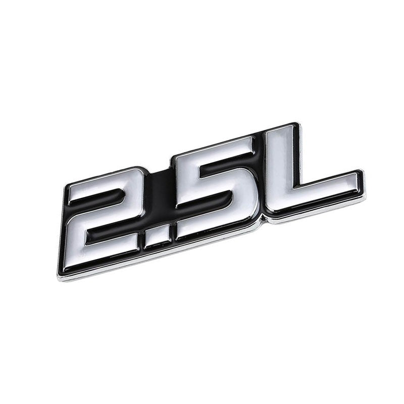 Black/Chrome 2.5L Sign Logo Badge Emblem Polished Decal Plate w/ 3M Tape-Exterior-BuildFastCar
