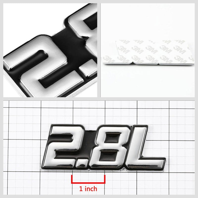 Black/Chrome 2.8L Sign Logo Trunk Badge Emblem Polished Decal Plate w/ 3M Tape-Exterior-BuildFastCar