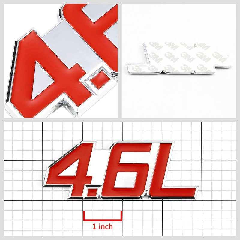 Red/Chrome 4.6L Logo V6 Sport Car Engine Emblem Polished Decal Plate Badge 3M-Exterior-BuildFastCar