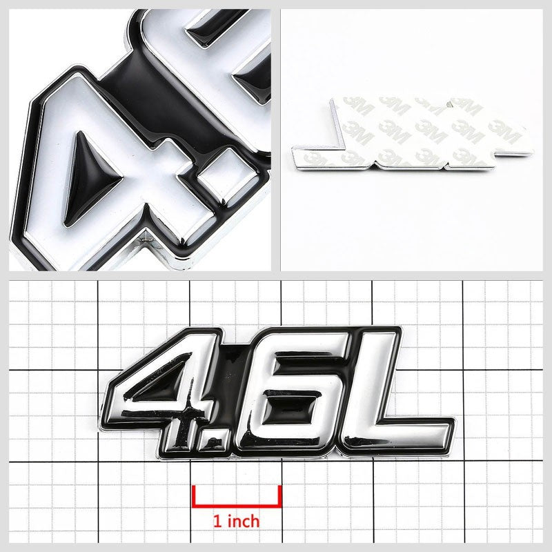 Black/Chrome 4.6L Sign Turbo V8 Sport Engine Emblem Decal Plate Metal Badge-Exterior-BuildFastCar