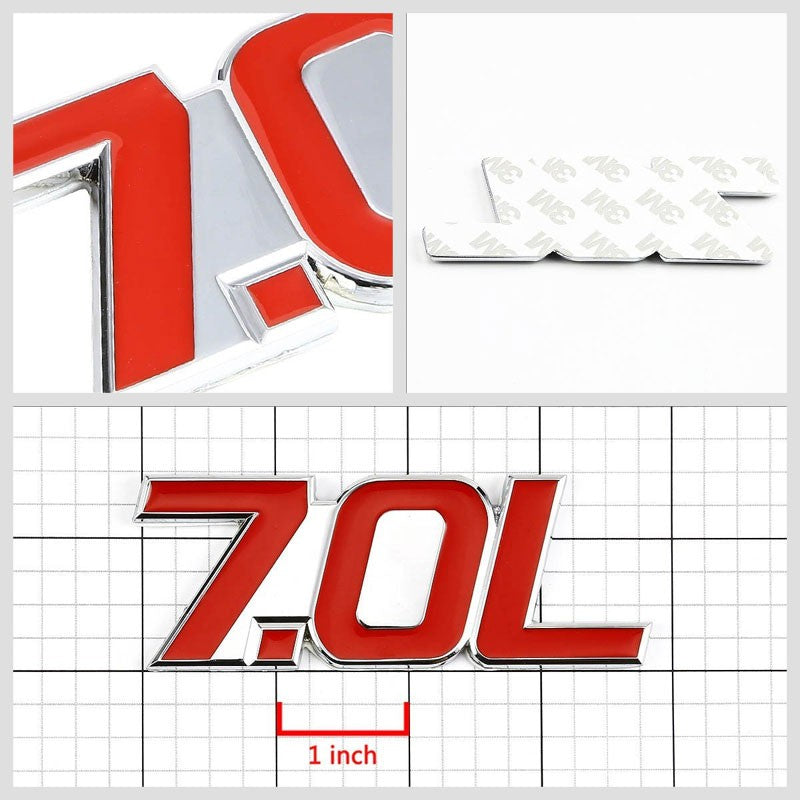 Red/Chrome 7.0L Sign V8 Engine Auto Trunk Badge Emblem Decal 3M Adhesive-Exterior-BuildFastCar