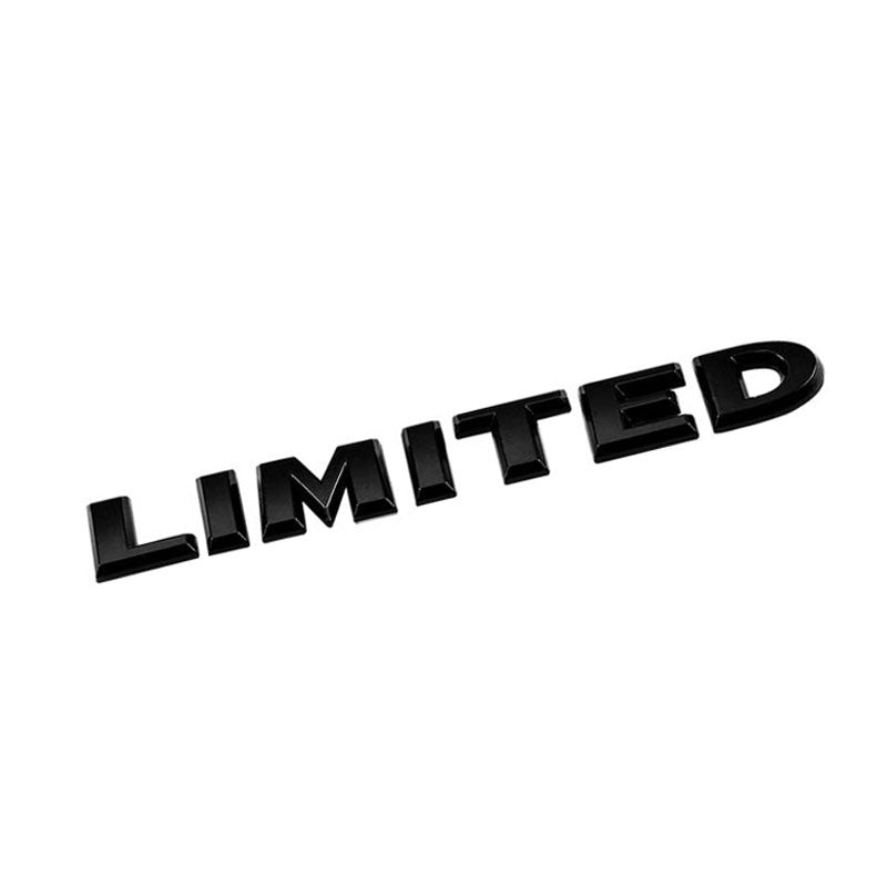 Black LIMITED Letter Logo Sign Car Badge Emblem Metal Plate Decal 3M Sticker-Exterior-BuildFastCar
