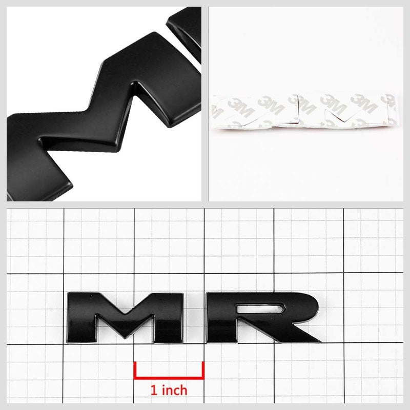 Black MR Letter Logo Sign Sport Engine Badge Emblem Metal Plate Decal 3M Sticker-Exterior-BuildFastCar