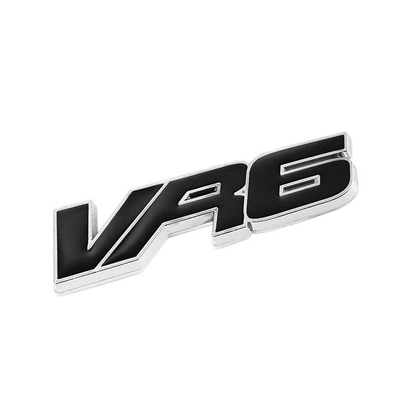 Black VR6 Letter Logo Sign Sport Engine Badge Emblem Metal Plate Decal 3M-Exterior-BuildFastCar