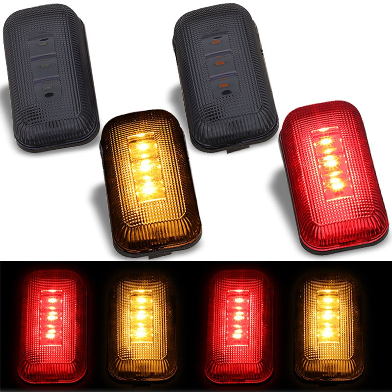 4x Smoke LED Side Marker Light For 15-19 GMC Sierra 2500/3500 HD Dually Fender-Lighting-BuildFastCar-BFC-SML-CHV15HD-SM