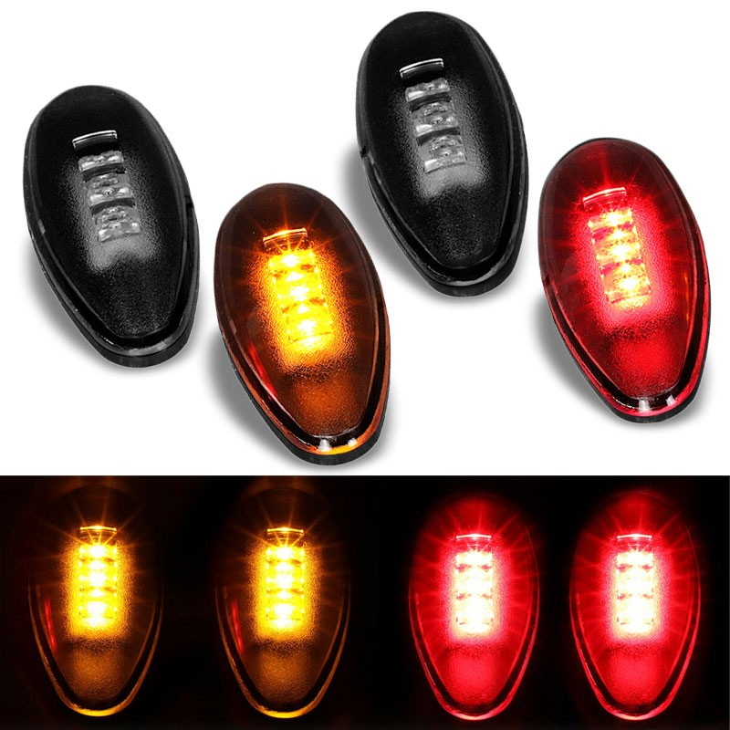 4x Smoke LED Side Marker Light For 01-14 GMC Sierra 2500/3500 HD Dually Fender-Lighting-BuildFastCar-BFC-SML-CHV01HD-SM