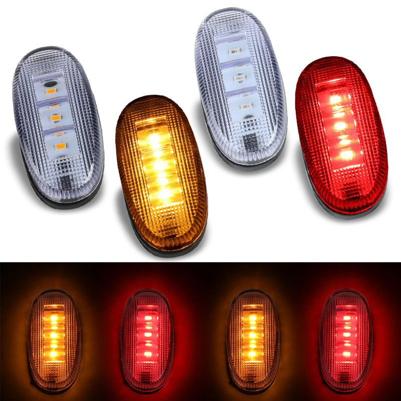 4x Clear LED Side Marker Light For 11-18 F-350 F-450 Super Duty Dually Fender-Lighting-BuildFastCar-BFC-SML-FOR11SD-CH