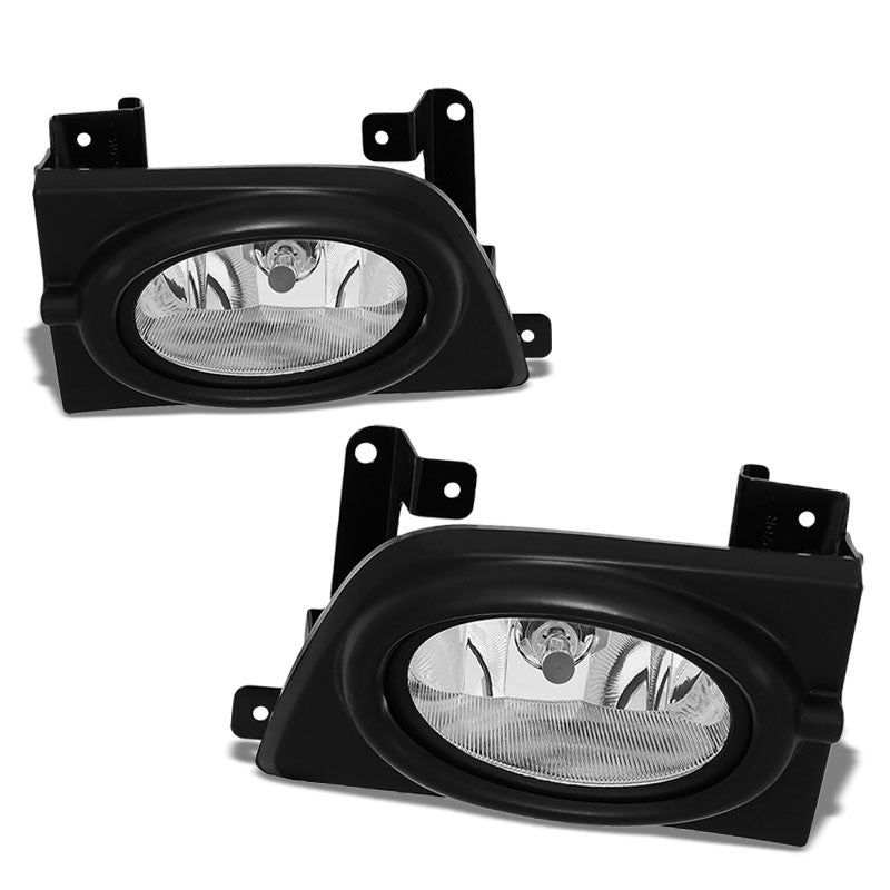 OE Style Front Left/Right Fog Light Lamp+Bezel Chrome/Clear For 06-08 Civic 4Dr-Lighting-BuildFastCar-BFC-FOLK-OE-HON06CIV4D-LR