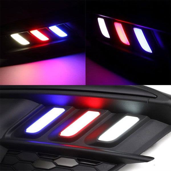 Mustang Style Red/White/Blue LED DRL Bumper Fog Light Bezel Lamp For 16-17 Civic-Exterior-BuildFastCar