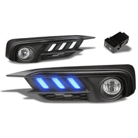 Mustang Style Blue LED DRL Bumper Fog Light Bezel Cover+Bulb For 16-17 Civic-Exterior-BuildFastCar