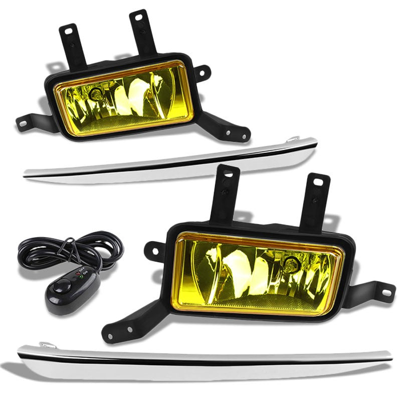 Front OE Fog Light Lamp+Chrome Bezel+Bulbs Amber Lens For 15-18 Tahoe/Suburban-Exterior-BuildFastCar