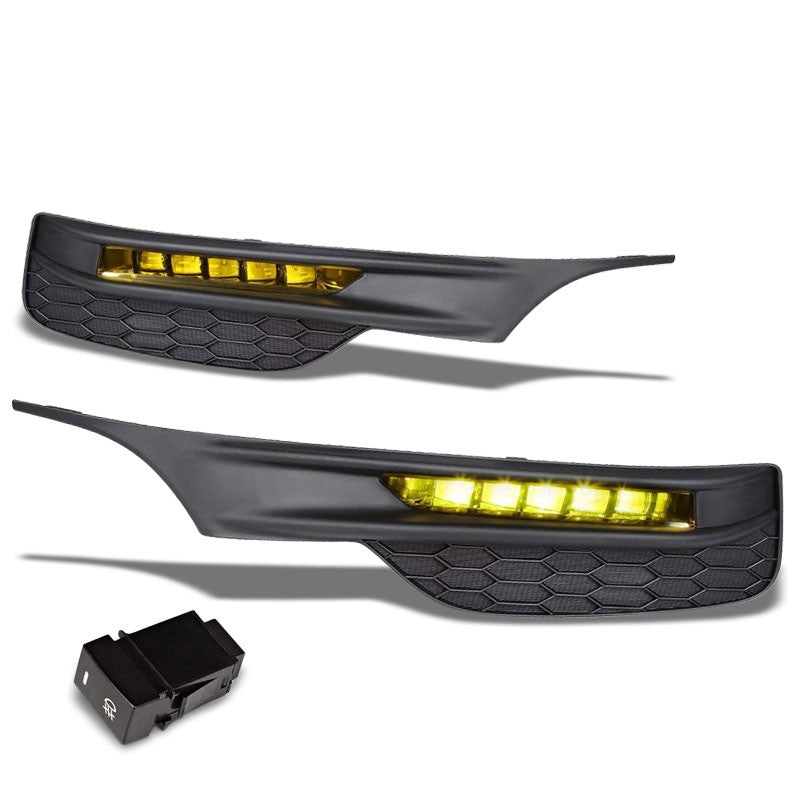 Front Bumper Driving Fog Light Lamp 12V 6000K LED Amber Lens For 16-17 Accord-Exterior-BuildFastCar