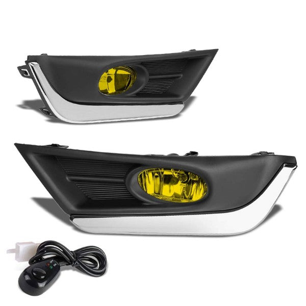 Amber Lens Front Driving Fog Light Lamp With Chrome Trim+Switch For 17-18 CR-V-Exterior-BuildFastCar
