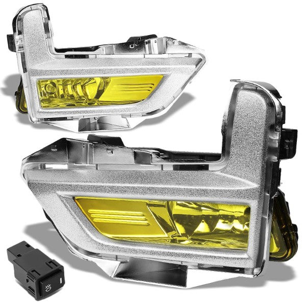 Amber Lens Front Driving Fog Light Lamp Kit+Bezel+Switch For 17-18 Nissan Rogue-Exterior-BuildFastCar