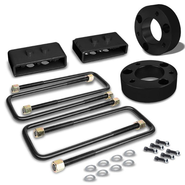 "2.5""F/1.5""R Blk Strut Tp/Spring Mt Leveling Lift Kit Spacer/Block For 04-17 F150-Suspension-BuildFastCar"