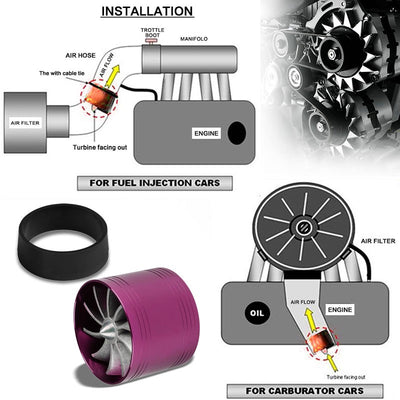 "Purple 2.5-2.9"" Propeller Turbine Fan Intake/Turbo/Filter Adaptor Fuel/Gas Saver-Performance-BuildFastCar"