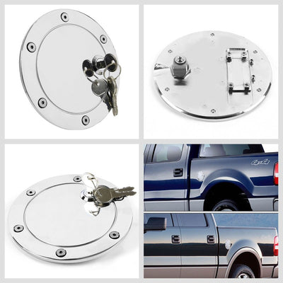 Chrome Bolt-On Gas Fuel Tank Door Cover Cap+Lock+Key For Ford 04-08 F-150/MarkLT-Locks & Hardware-BuildFastCar