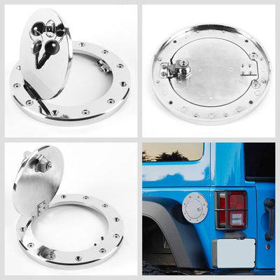 Chrome Bolt-On Gas Fuel Tank Door Cover Cap+Lock+Key For Jeep 97-06 Wrangler TJ-Locks & Hardware-BuildFastCar